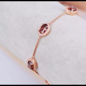 🌷 HB Rose Gold Blood Red Oval Crystal Bracelet 🌷